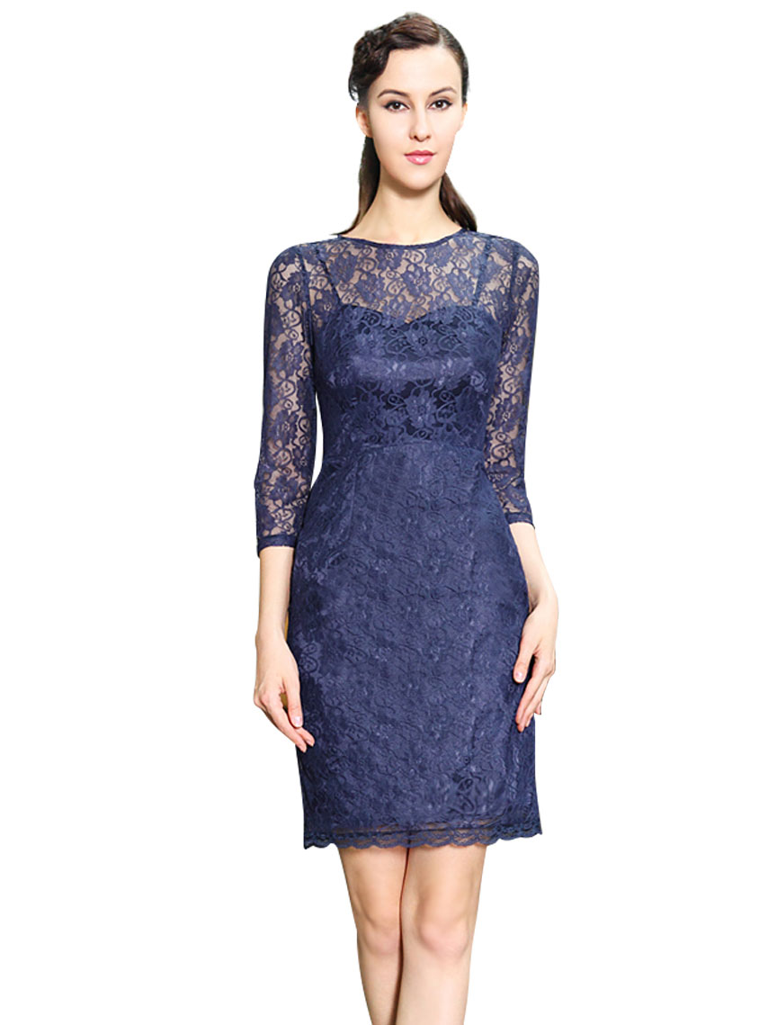 blauwe kanten jurk met mouwen