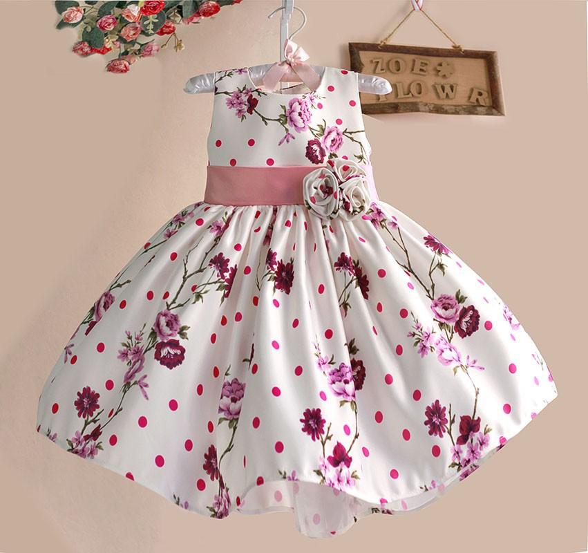 baccdac875a Fleurig kinderjurkje met roze bloemen Astrid