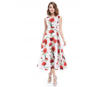 a84ebf9f013d7a Enkellange zomerjurk met rode bloemen Angela